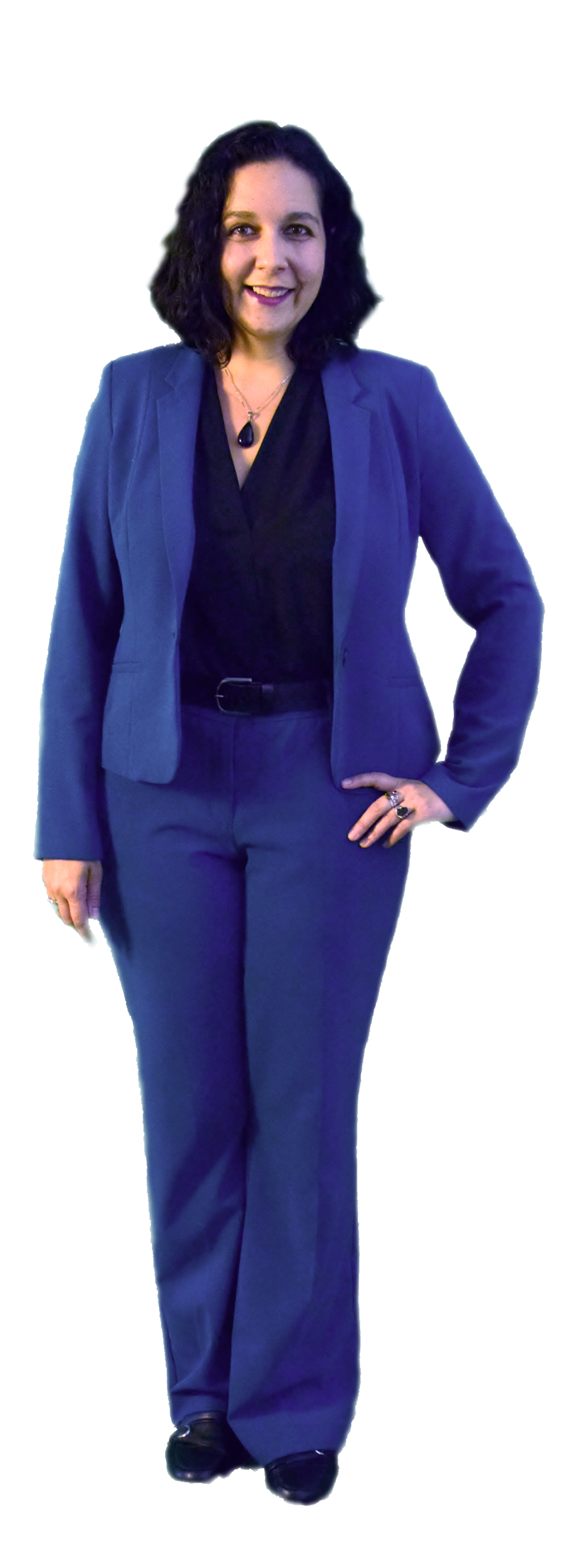 Leigh Chandler in a blue suit